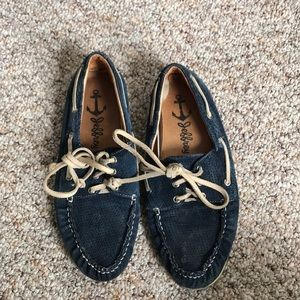 Jeffrey Campbell boat shoes navy suede
